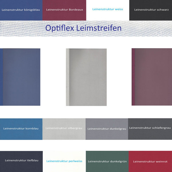 OptiPlus Thermo- Bindemappen LEINENSTRUKTUR, Satin- Folie (Optiflexleim mit Leinenfaser)