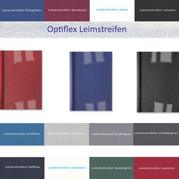 OptiPlus Thermo- Bindemappen LEINENSTRUKTUR, Klar- Folie (Optiflexleim)
